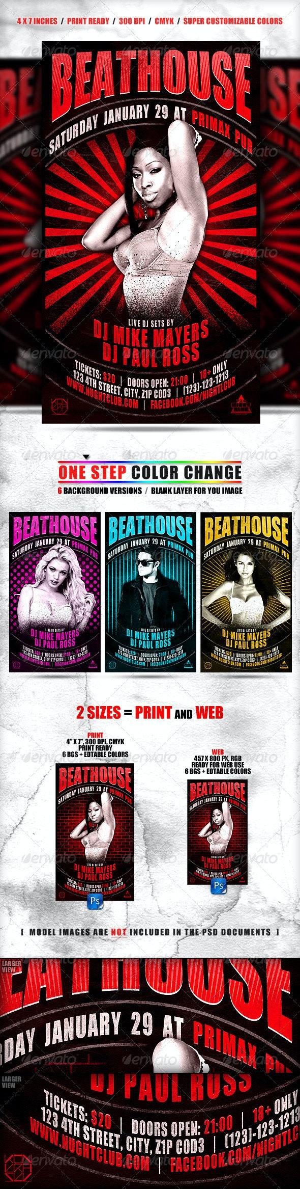 Arc Flyer // Editable Colors + 6 Backgrounds - Clubs & Parties Events
