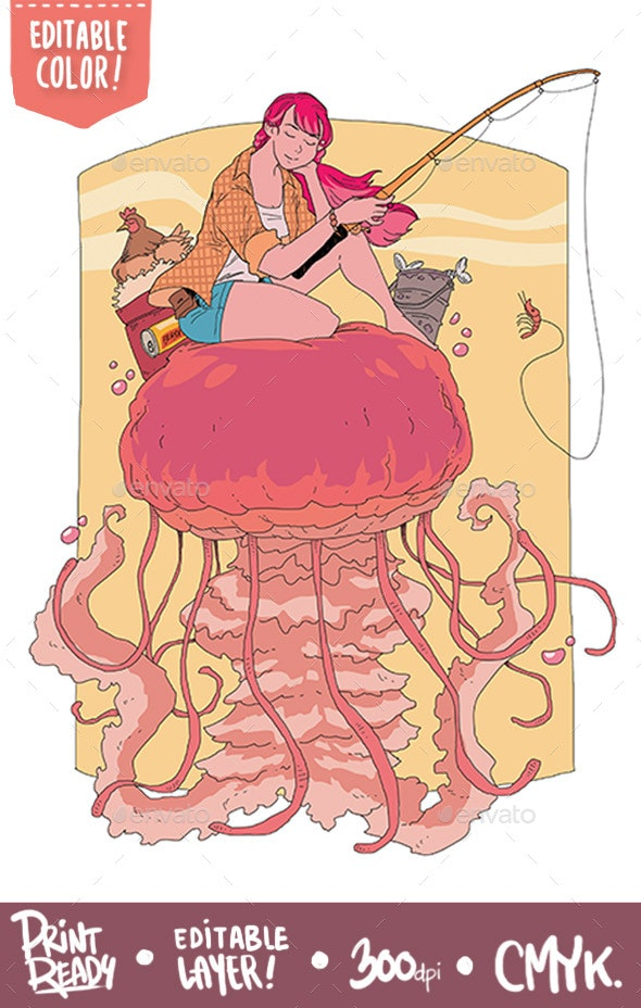 Fishing with Jellyfish - Characters Illustrations