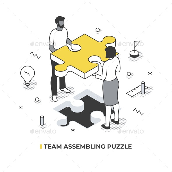 Team Assembling Puzzle Isometric Illustration - Concepts Business