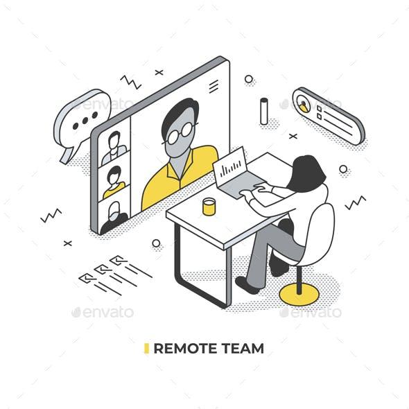 Remote Teamwork Isometric Illustration
