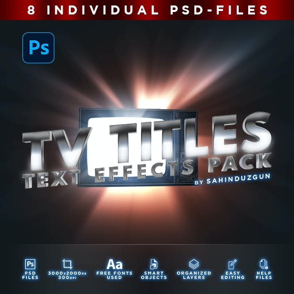 TV TITLES | Text-Effects/Mockups | Template-Pack