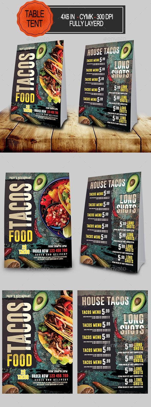 Tacos Menu Table Tent - Food Menus Print Templates