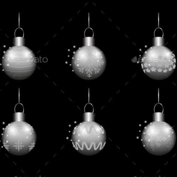 Six Silver Realistic Christmas Balls Set on Black Background.