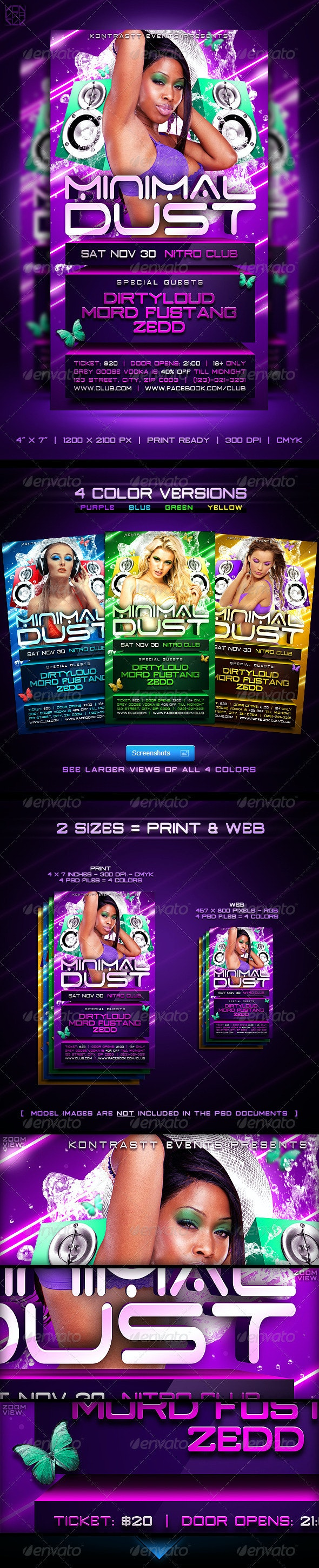 Minimal Dust Flyer // 4 Color Versions in 2 Sizes - Clubs & Parties Events