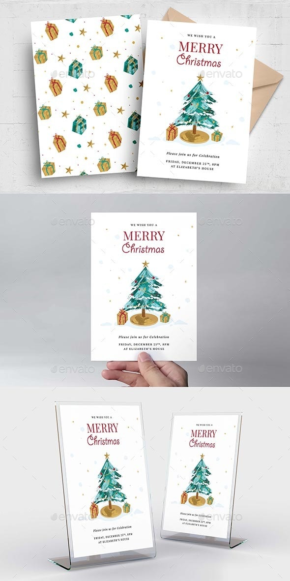 Simple Christmas Greetings Card - Holiday Greeting Cards
