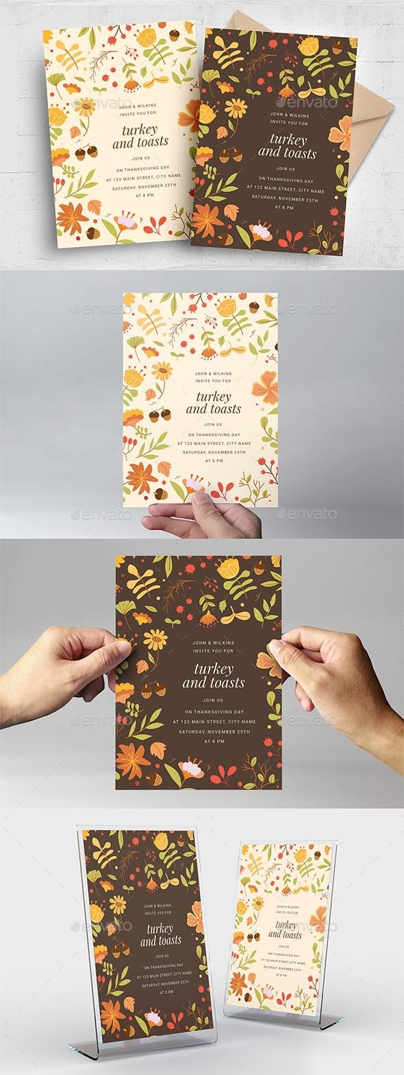 Festive Thanksgiving Card - Holiday Greeting Cards