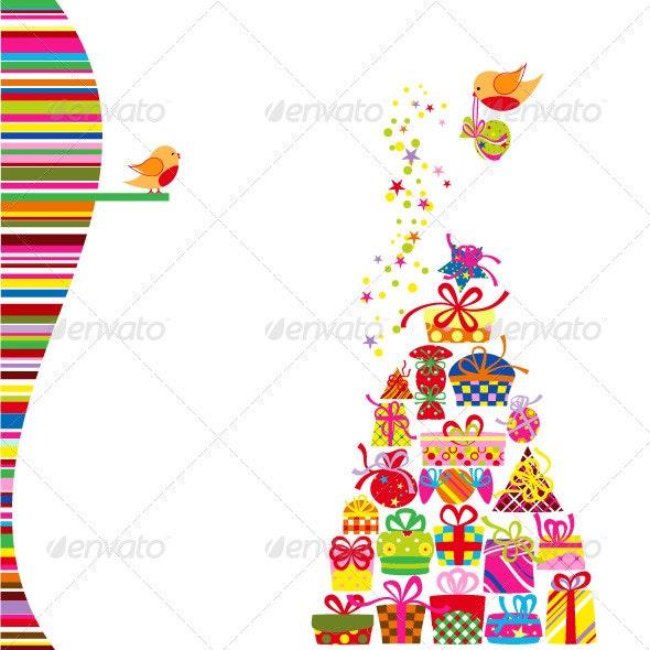 Christmas Greeting Card Colorful Present - Christmas Seasons/Holidays