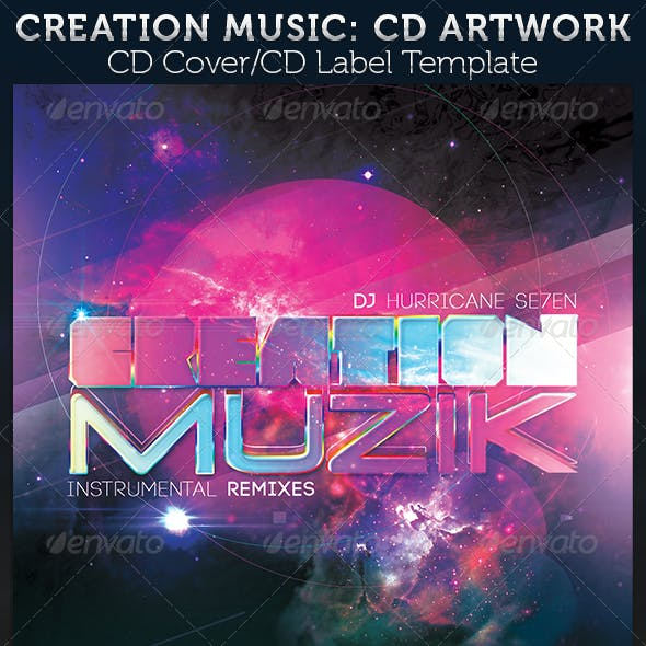 Creation Music: CD  Cover Artwork Template