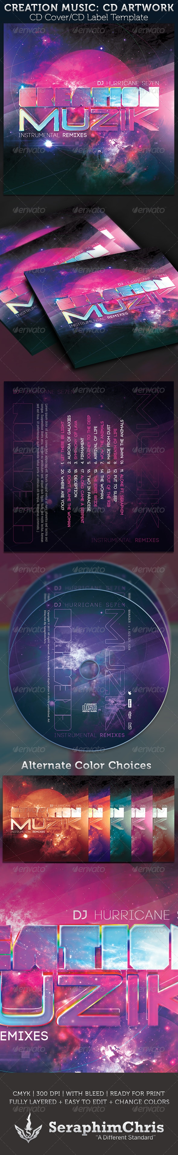Creation Music: CD  Cover Artwork Template - CD & DVD Artwork Print Templates