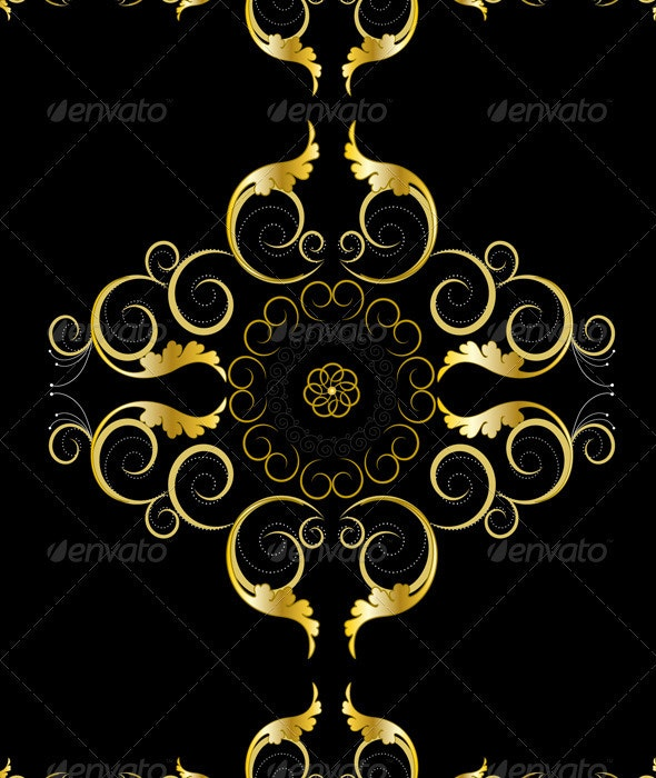 Oriental Gold Ornaments for Rug  - Borders Decorative