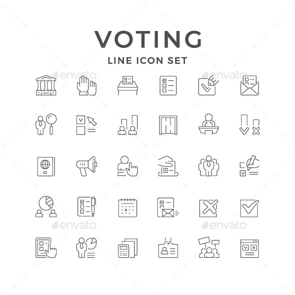 Set Line Icons of Voting