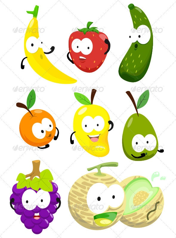 Toon Fruit Pack One - Characters Vectors