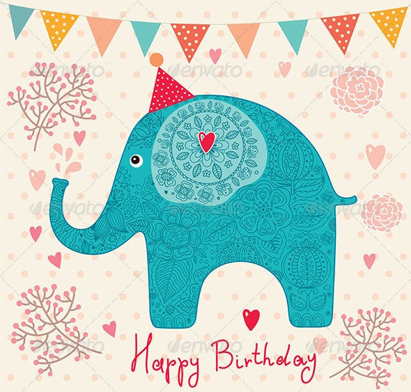 Holiday vector card with elephant - Decorative Vectors
