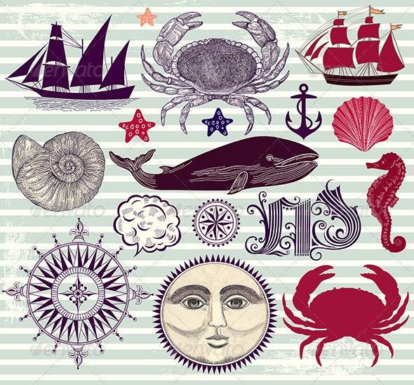 Vector set of maritime design elements - Decorative Symbols Decorative