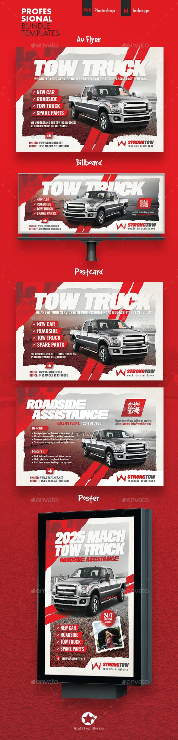 Tow Truck Bundle Templates - Corporate Flyers