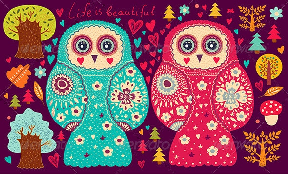 Vector card with owls - Patterns Decorative