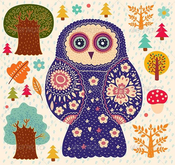 Vector card with owl - Decorative Vectors