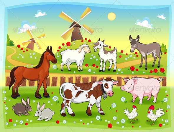 Farm animals with background. - Animals Characters
