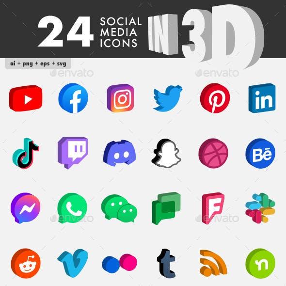 Social Media Icons in 3D