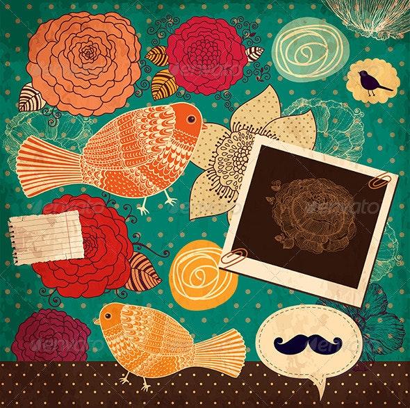 Vector vintage floral background - Backgrounds Decorative