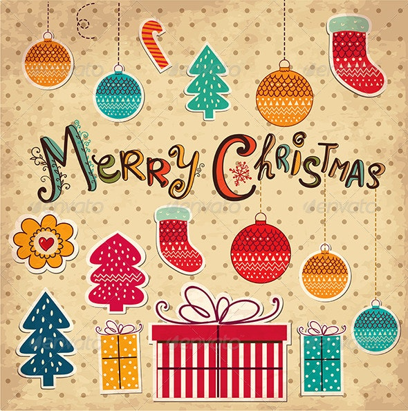 Vector Christmas card with gifts - Christmas Seasons/Holidays