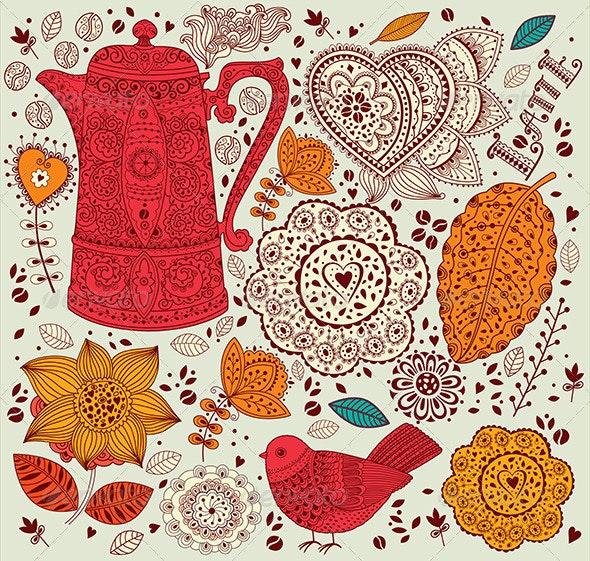 Vector floral vintage background - Patterns Decorative