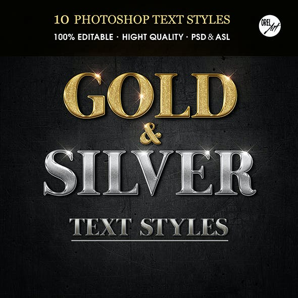 Gold & Silver Glossy Text Styles