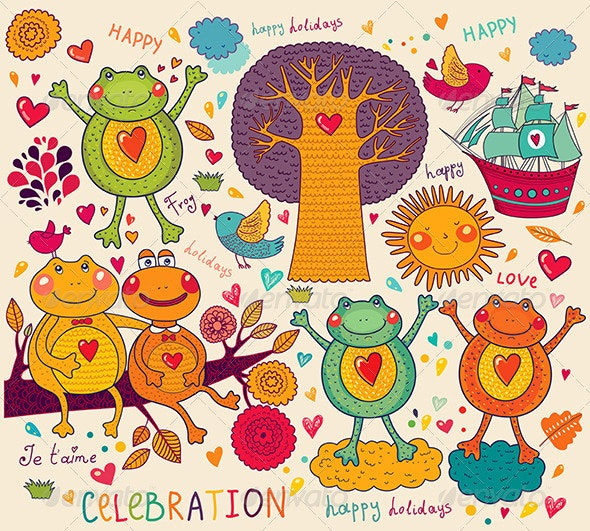 Holiday vector card with funny frogs - Animals Characters