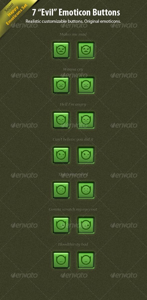 """7 """"Evil"""" Emoticon Buttons - Buttons Web Elements"""