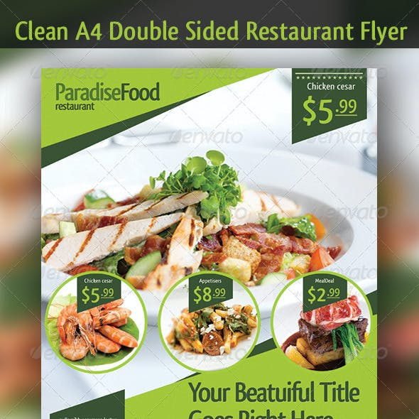 A4 Restaurant Double Sided Flyer Template