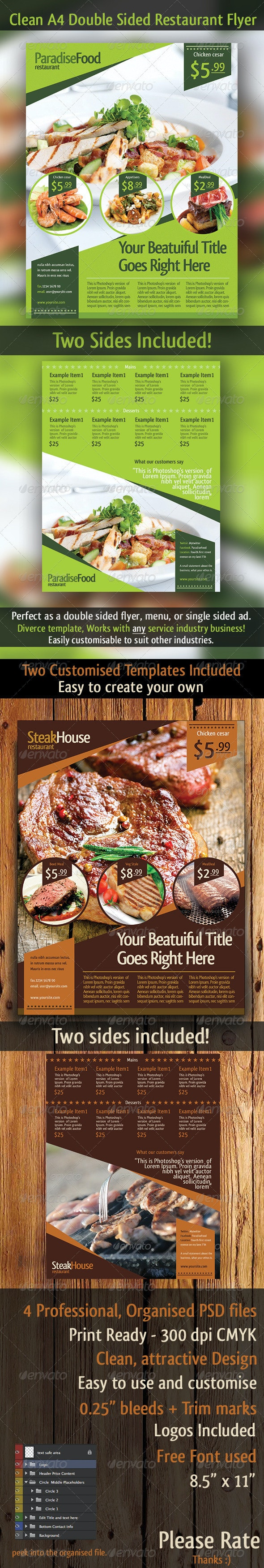 A4 Restaurant Double Sided Flyer Template - Restaurant Flyers