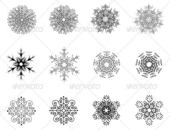 Decorative snowflakes - Flourishes / Swirls Decorative