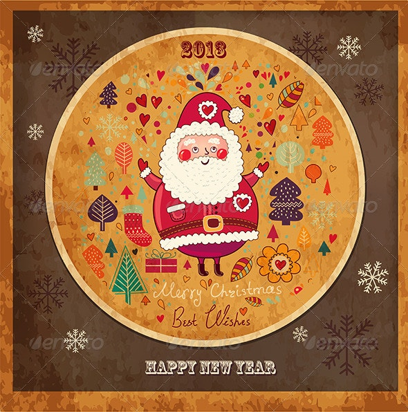 Vector Christmas card with funny Santa Claus - Christmas Seasons/Holidays