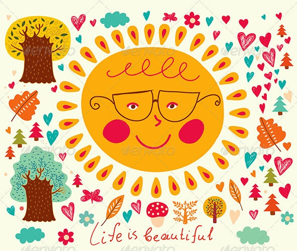 Vector Cartoon illustration with fun sun and trees - Seasons Nature