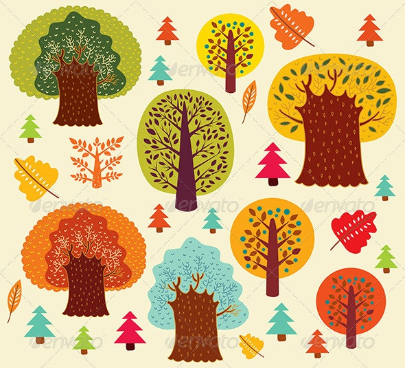 Vector autumn pattern with trees - Nature Conceptual