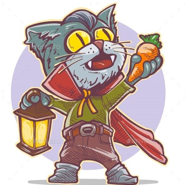 Cartoon Halloween Vampire Cat Holding Carrot