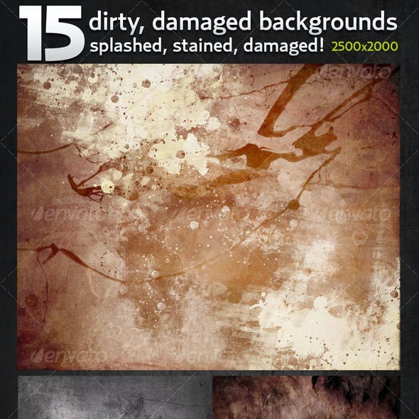 15 Hi-res Dirty, Damaged Backgrounds in 2500x2000