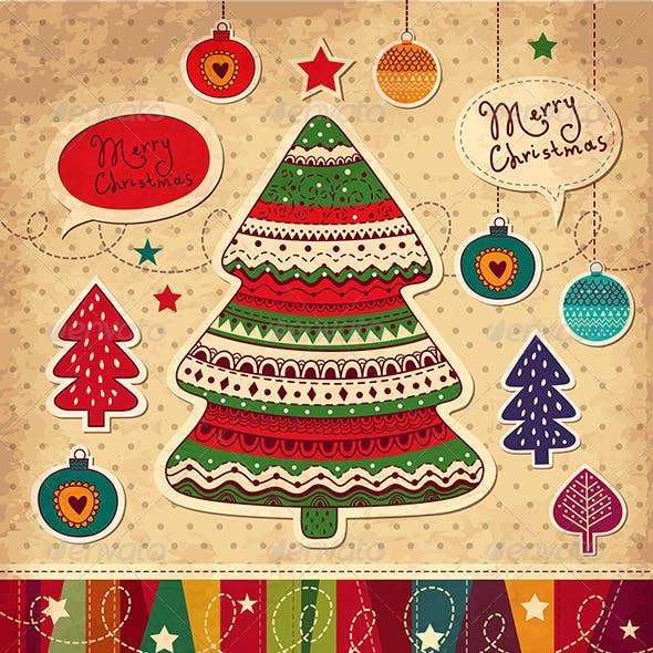 Vector Christmas card with christmas trees