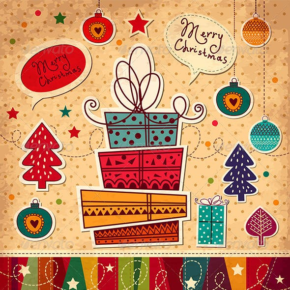 Vector Christmas card with gifts