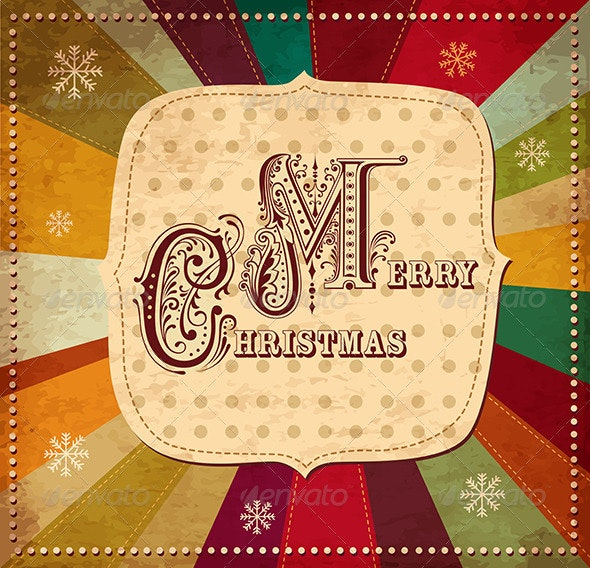Vector Christmas card with Merry Christmas text - Christmas Seasons/Holidays