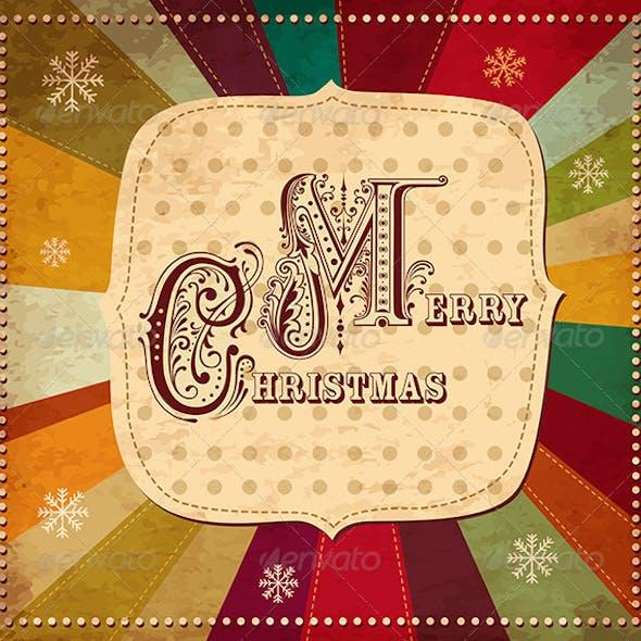 Vector Christmas card with Merry Christmas text