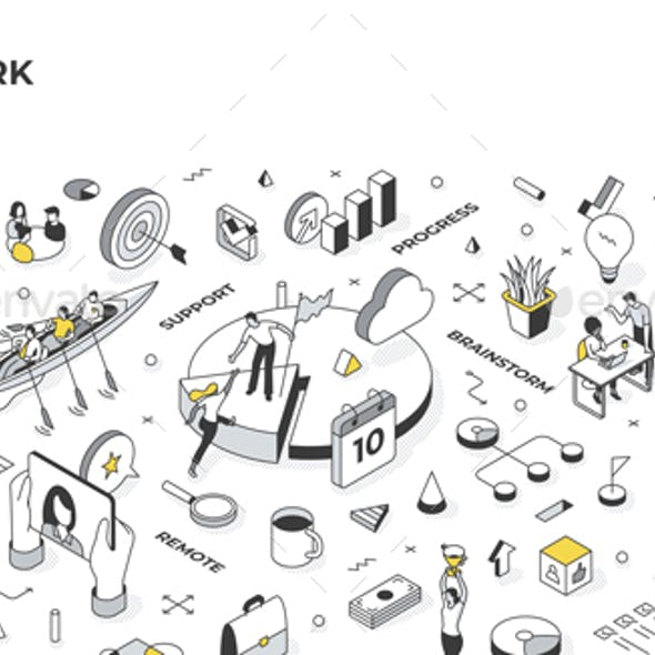 Teamwork Isometric Illustration