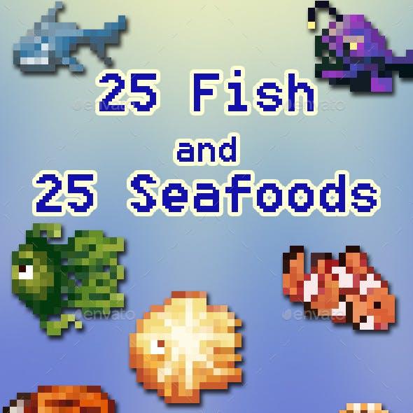 50 Fish & Seafood 16x Pixelart