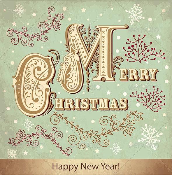 Vector Christmas card with snowflakes - Christmas Seasons/Holidays