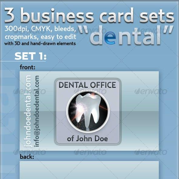 """3-business card set """"Dental"""""""