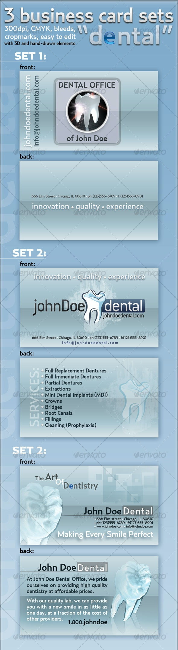 """3-business card set """"Dental"""" - Industry Specific Business Cards"""