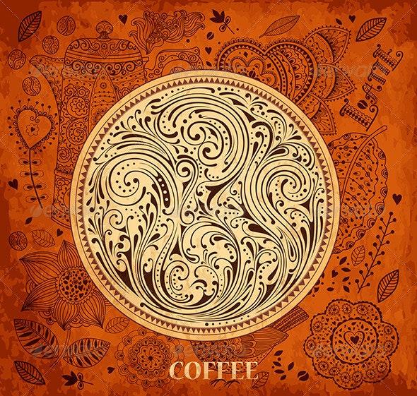 Vector floral vintage coffee background - Backgrounds Decorative