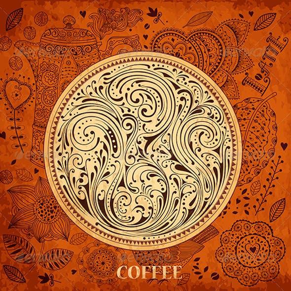 Vector floral vintage coffee background