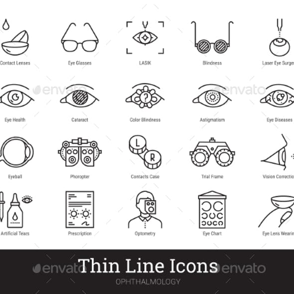 Ophthalmology Eyes Health Vector Linear Icons Set