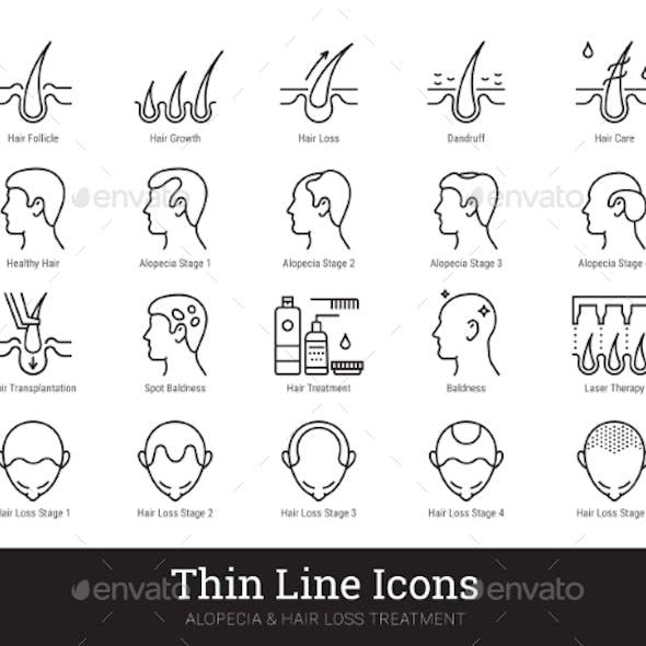 Hair Health Alopecia Treatment Linear Icons Set